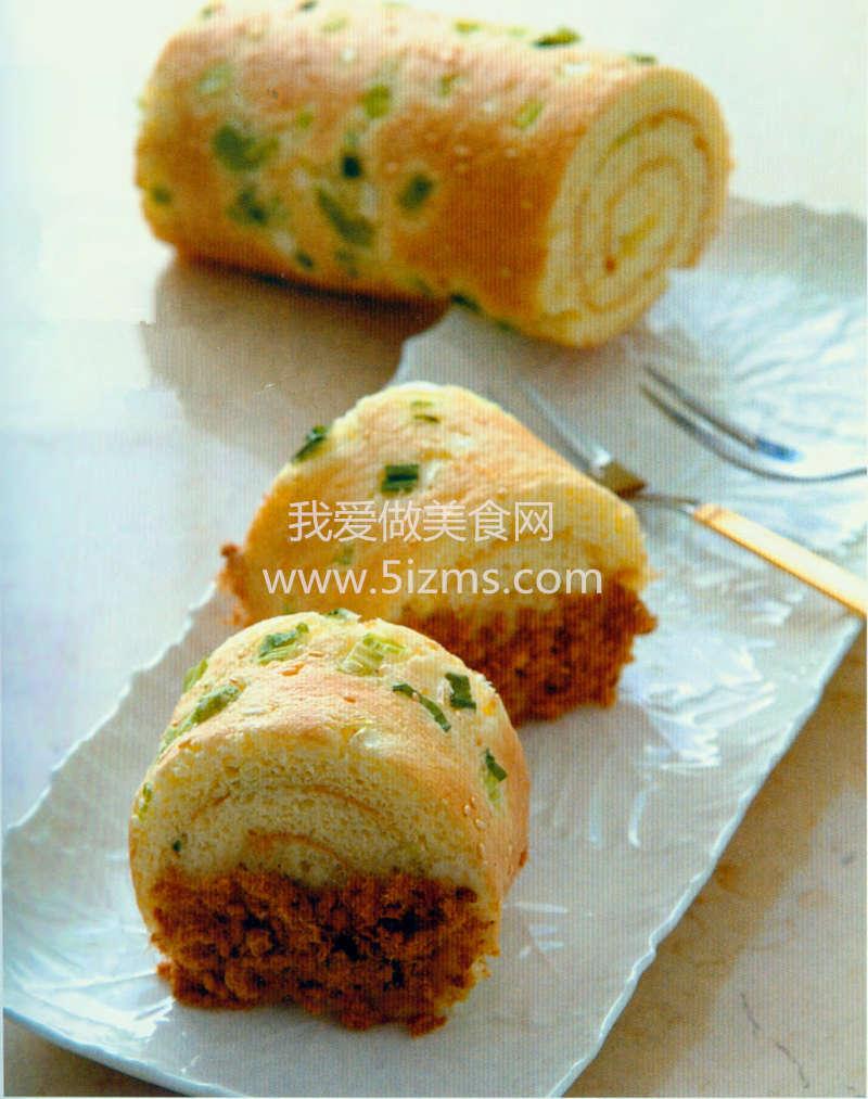 烘焙入门烘焙食谱之葱花肉松咸蛋糕卷