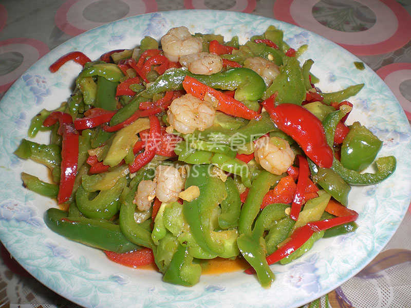 青红椒炒虾仁